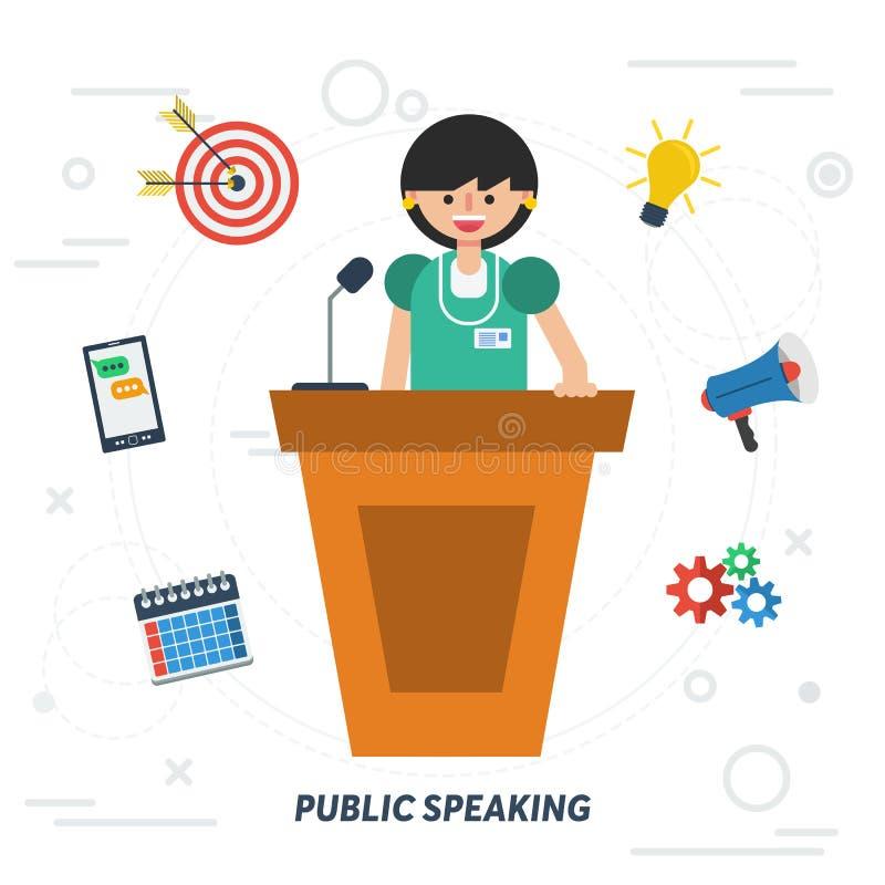 Mulher de negócio do discurso público ilustração do vetor