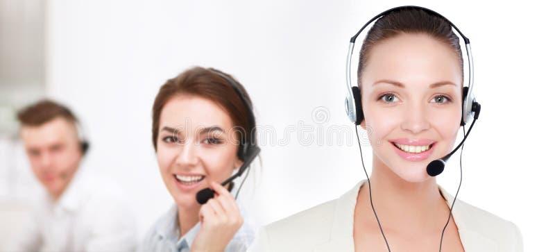 Mulher de negócio do operador do centro de chamadas Isolado no fundo branco imagem de stock