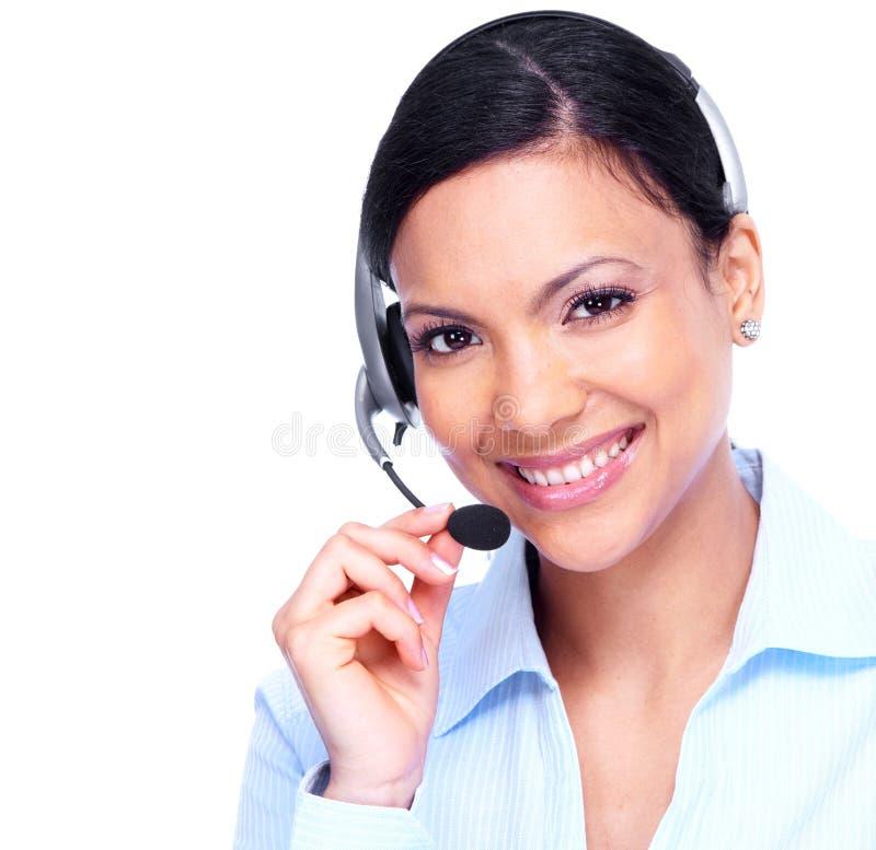 Mulher de negócio do operador de centro de atendimento. foto de stock royalty free