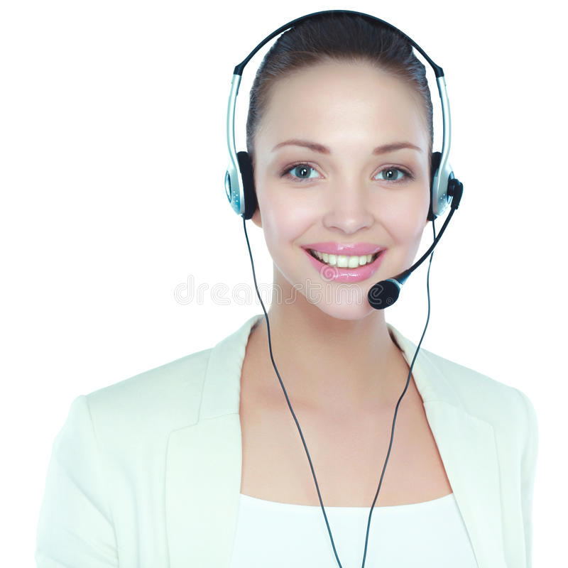 Mulher de negócio do operador do centro de chamadas Isolado no fundo branco imagens de stock royalty free