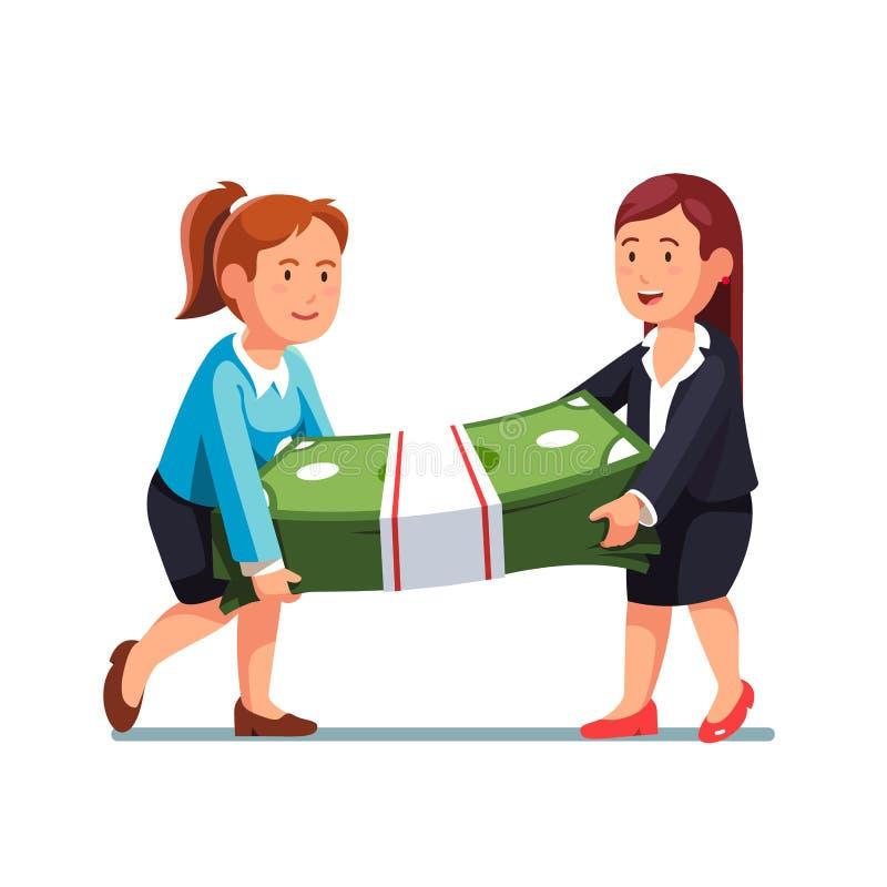 Mulher de negócio dois que leva o pacote enorme do dinheiro ilustração do vetor