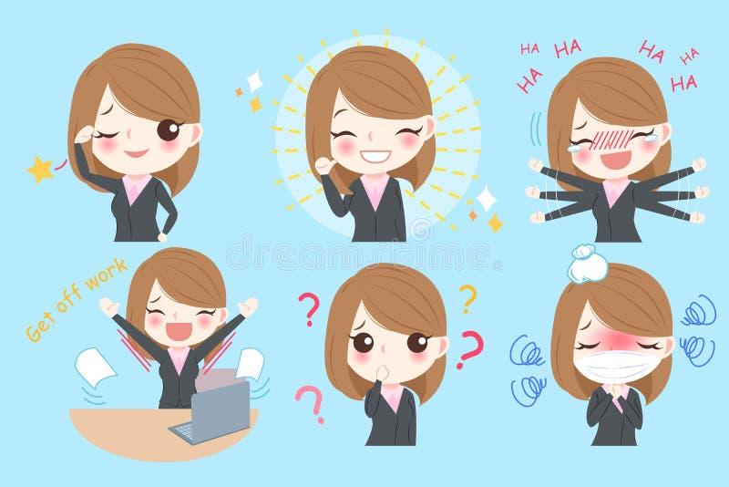 Mulher de negócio dos desenhos animados ilustração royalty free