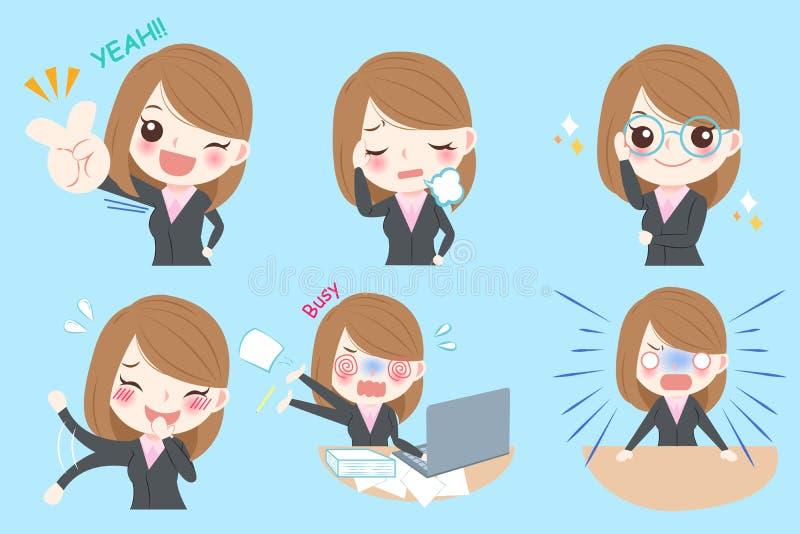 Mulher de negócio dos desenhos animados ilustração stock