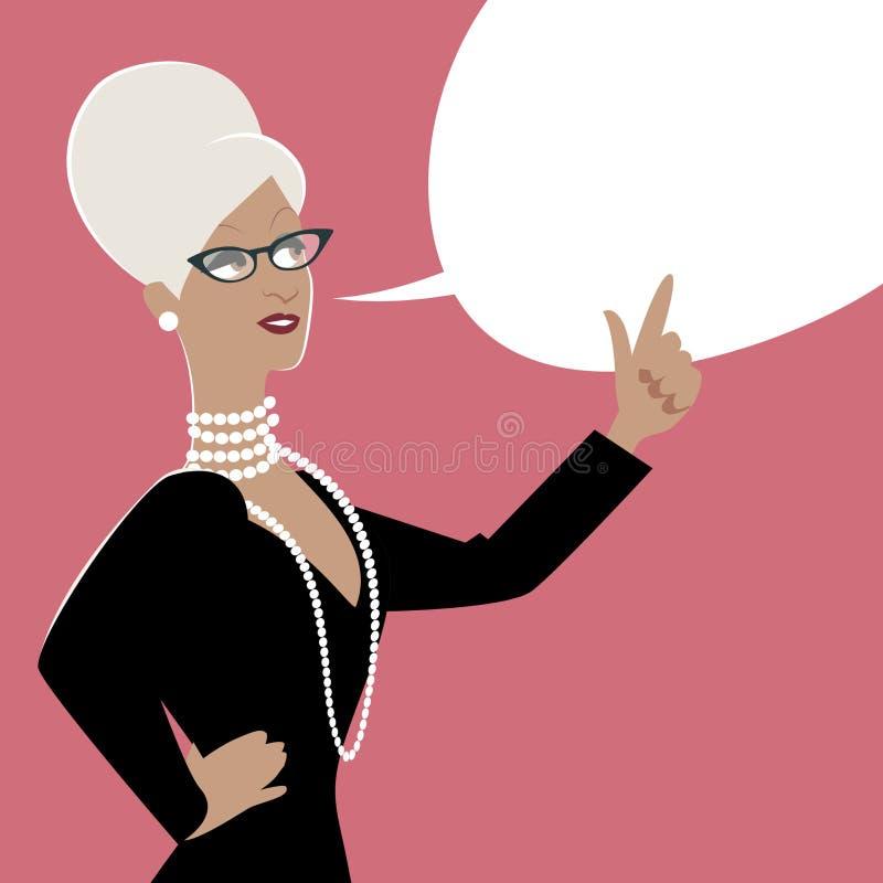 Mulher de negócio e balão de discurso vazio Estilo dos desenhos animados ilustração stock