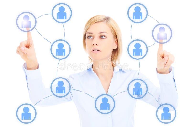 Mulher de negócio e rede social imagens de stock