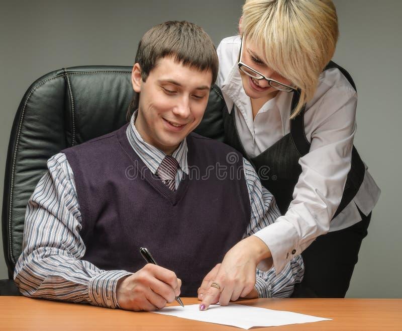 Mulher de negócio e um homem de negócios com original fotos de stock royalty free
