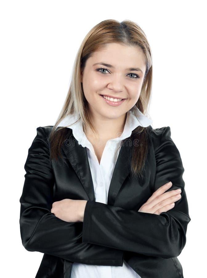 Mulher de negócio elegante que levanta e que sorri ao camer fotos de stock