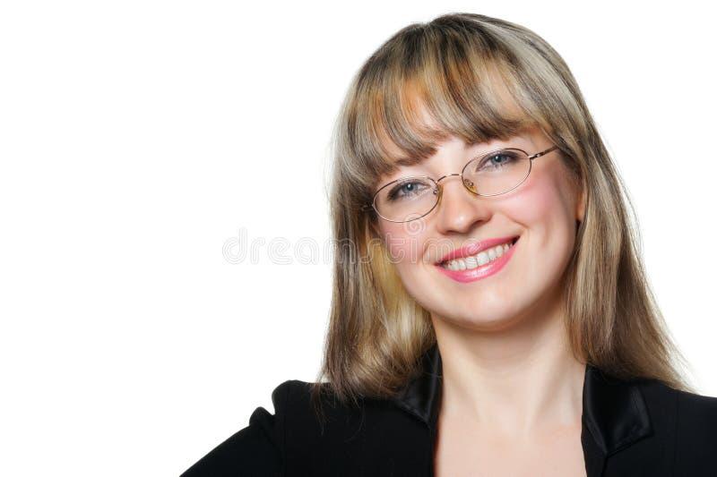A mulher de negócio em vidros do olho fotografia de stock royalty free