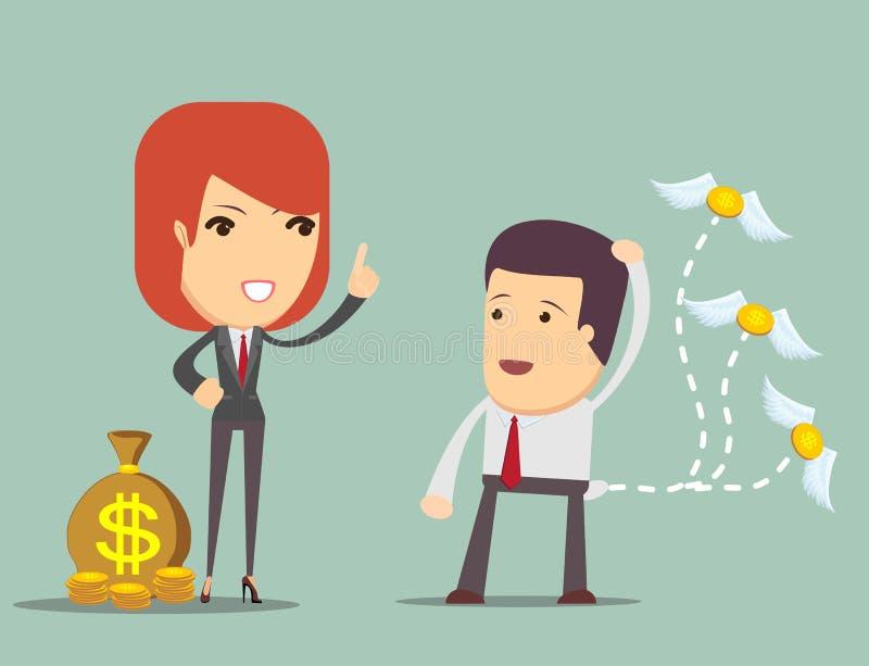 A mulher de negócio ensina como salvar o dinheiro ilustração do vetor