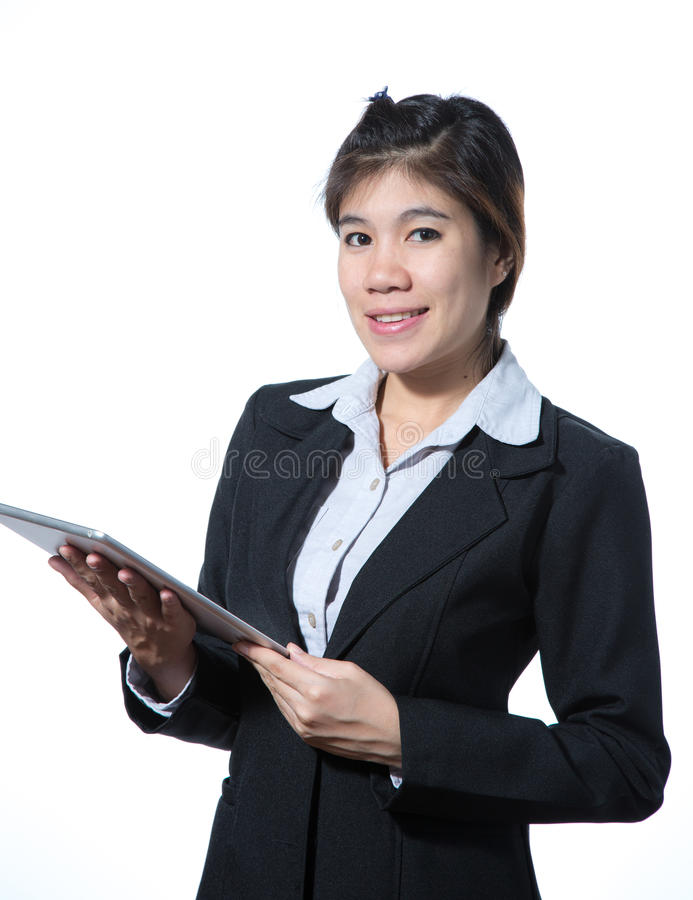 Mulher de negócio esperta de sorriso, conceito usando a tabuleta do computador fotografia de stock royalty free