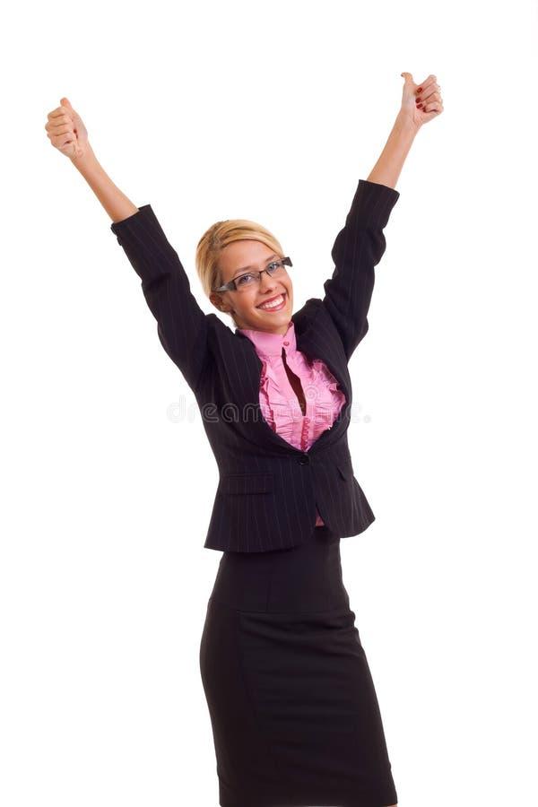 Mulher de negócio excitada dando os polegares acima. imagens de stock royalty free