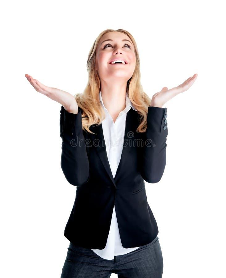 Mulher de negócio excited feliz fotografia de stock