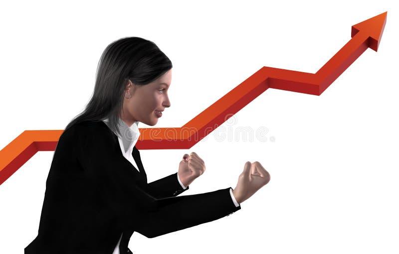 Mulher de negócio entusiasmado - virtual imagens de stock royalty free