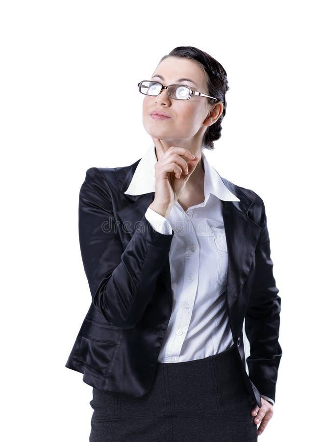 Mulher de negócio executiva que pensa sobre o futuro fotografia de stock