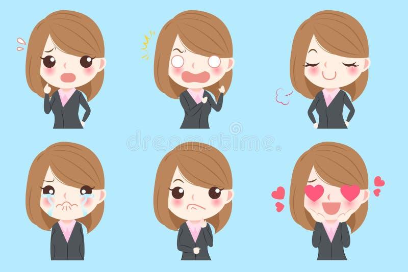 A mulher de negócio faz emoções ilustração do vetor