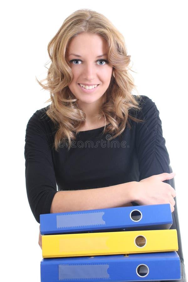 Mulher de negócio feliz com dobradores imagem de stock royalty free