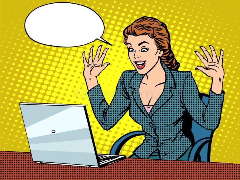 Mulher de negócio feliz com portátil ilustração royalty free
