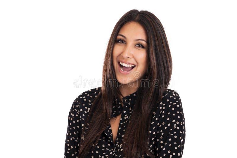Mulher de negócio feliz da raça misturada isolada no branco fotos de stock royalty free