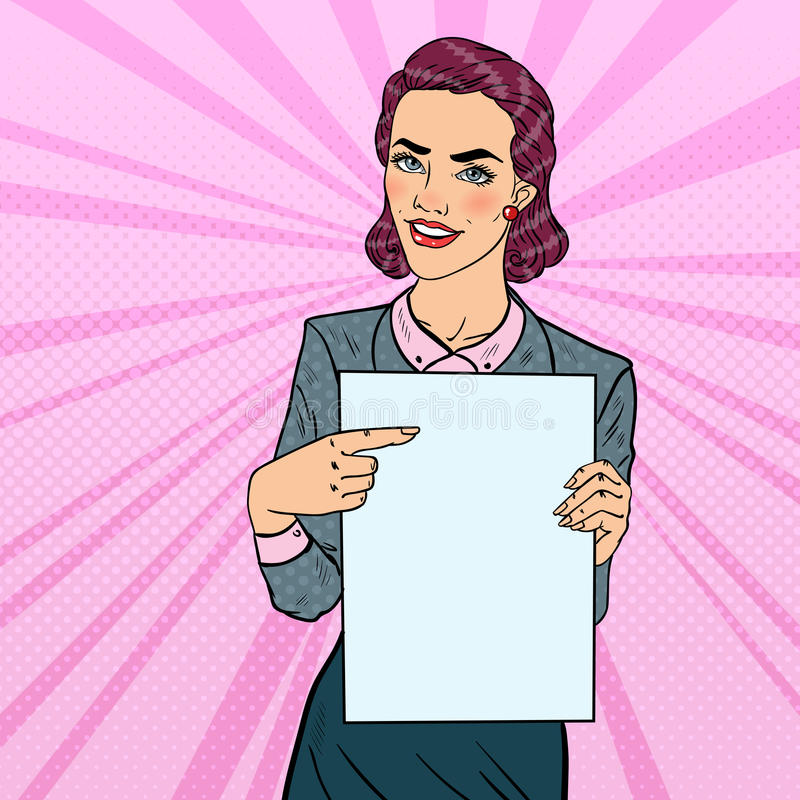 Mulher de negócio feliz que aponta na apresentação da folha do papel vazio Ilustração retro do pop art ilustração stock