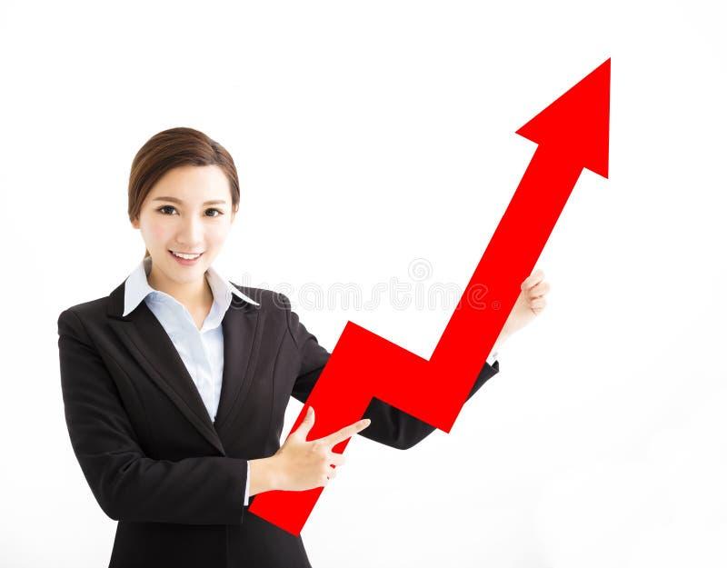 Mulher de negócio feliz que mostra a seta do crescimento de lucro foto de stock
