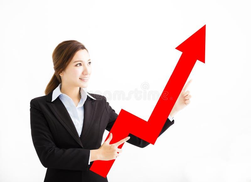 Mulher de negócio feliz que mostra a seta do crescimento de lucro fotografia de stock royalty free