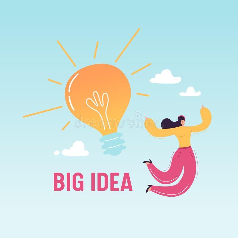 Mulher de negócio feliz que salta com a ampola grande Ideia criativa, inovação do negócio, realização, sucesso, clique ilustração royalty free