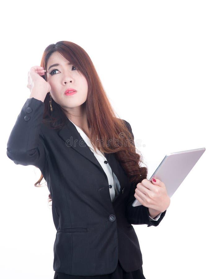Mulher de negócio ferida com dor de cabeça, enxaqueca, esforço imagem de stock