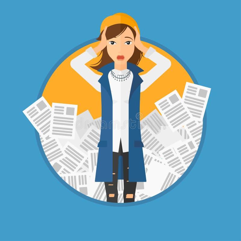 Mulher de negócio forçada que tem lotes do trabalho a fazer ilustração do vetor