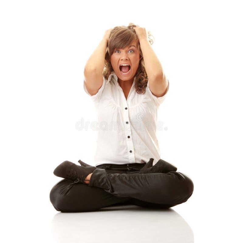 Mulher de negócio frustrante imagens de stock royalty free