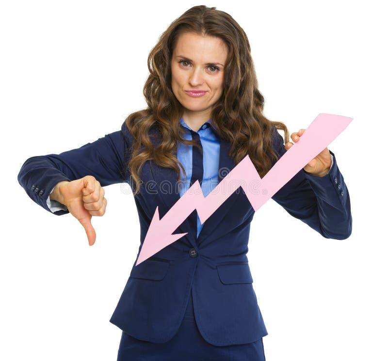 Mulher de negócio frustrante que mostra a seta do gráfico que vai para baixo foto de stock