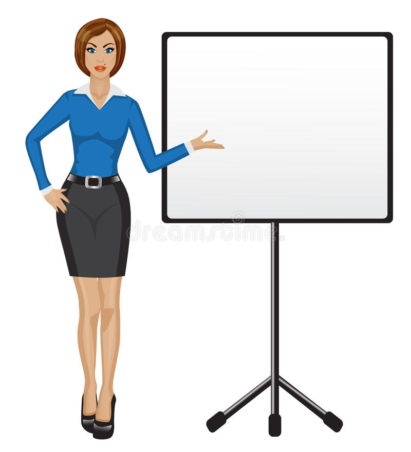 A mulher de negócio guarda a apresentação ilustração royalty free