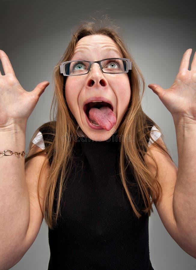 Mulher de negócio insana imagens de stock