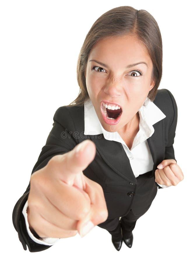 Mulher de negócio irritada isolada fotografia de stock