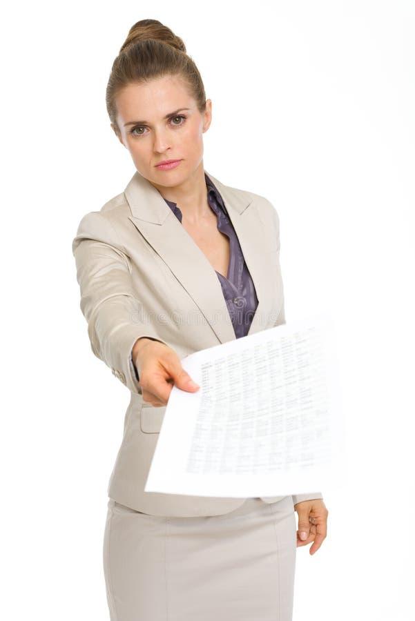 Mulher de negócio irritada que mostra o original imagens de stock royalty free