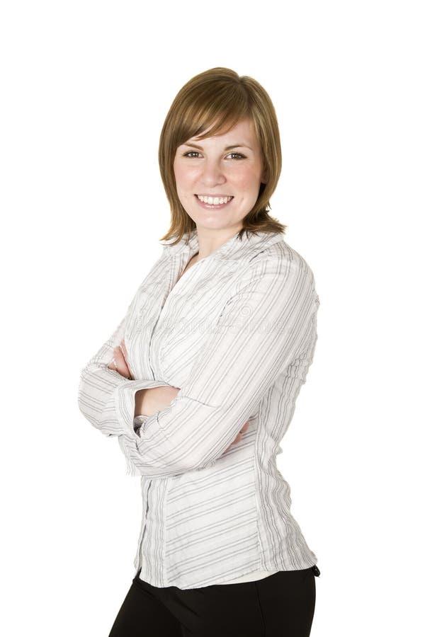 Mulher de negócio isolada no branco fotografia de stock