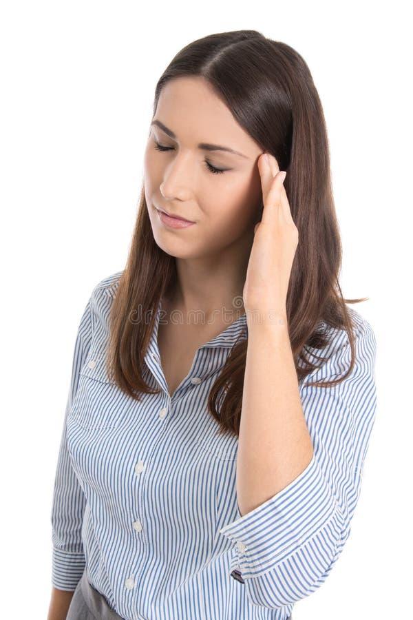 Mulher de negócio isolada sobrecarregada e esgotada. fotografia de stock royalty free