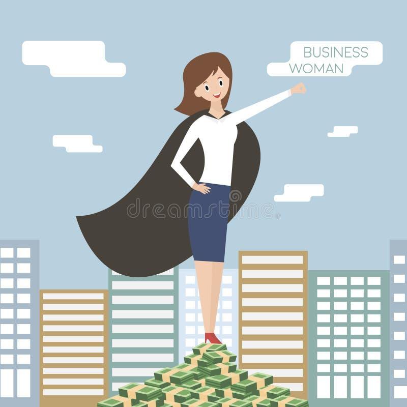 Mulher de negócio - 2 Líder da equipa, chefe, mulher do herói Ilustração do vetor ilustração do vetor