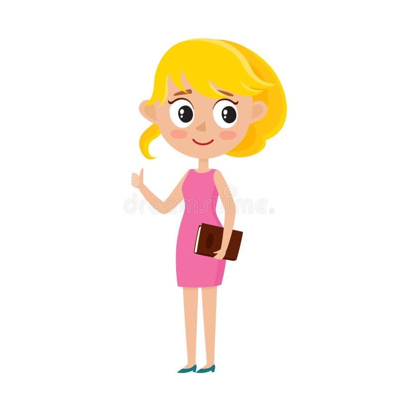 Mulher de negócio loura bonito na roupa à moda isolada no branco ilustração stock