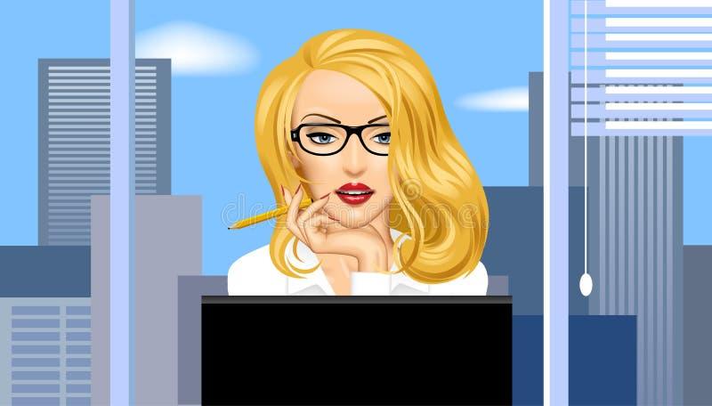 Mulher de negócio loura nos vidros na frente dos agains do computador ilustração royalty free