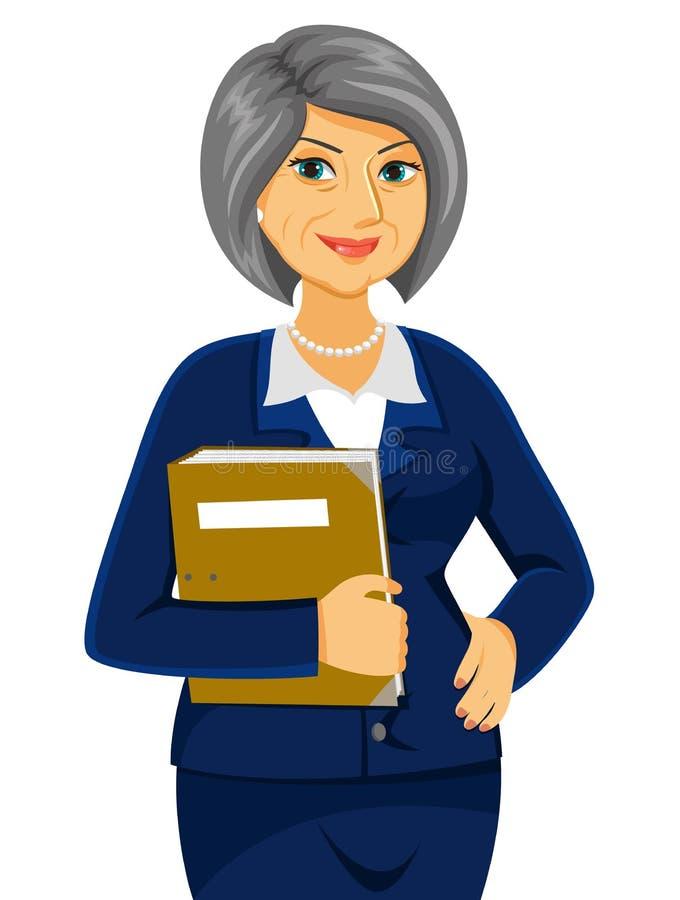 Mulher de negócio maduro ilustração royalty free
