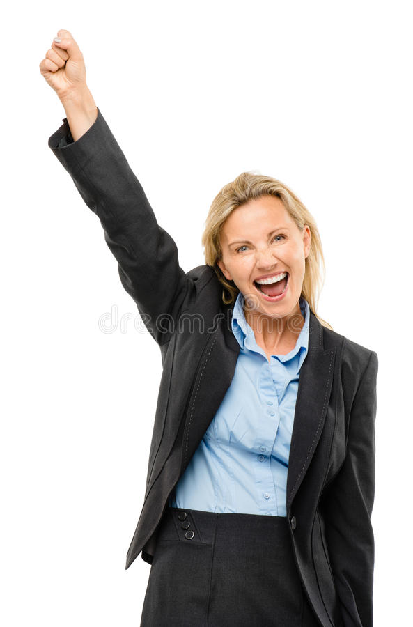 A mulher de negócio maduro feliz arma-se isolado acima no fundo branco foto de stock royalty free