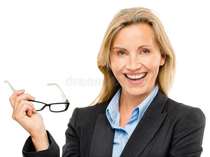 Mulher de negócio maduro feliz isolada no fundo branco fotografia de stock royalty free