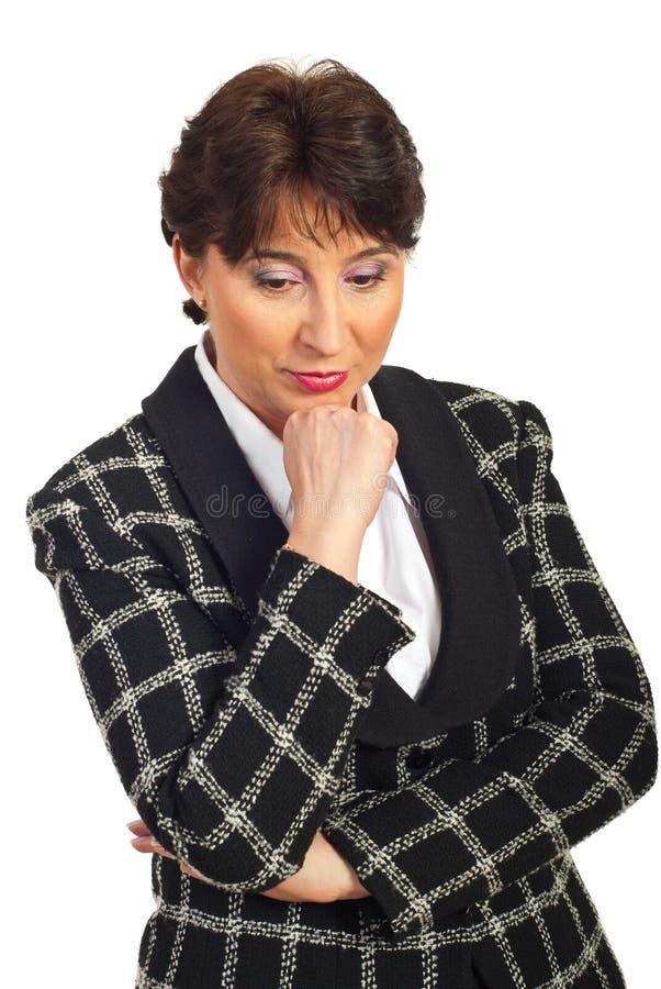 Mulher de negócio maduro triste imagens de stock