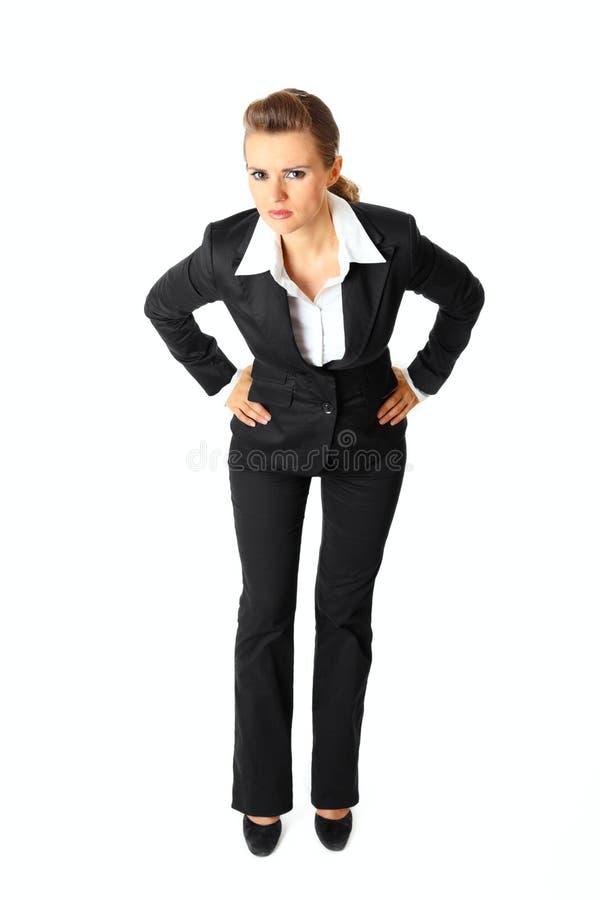 Mulher de negócio moderna desagradada isolada no branco imagem de stock royalty free