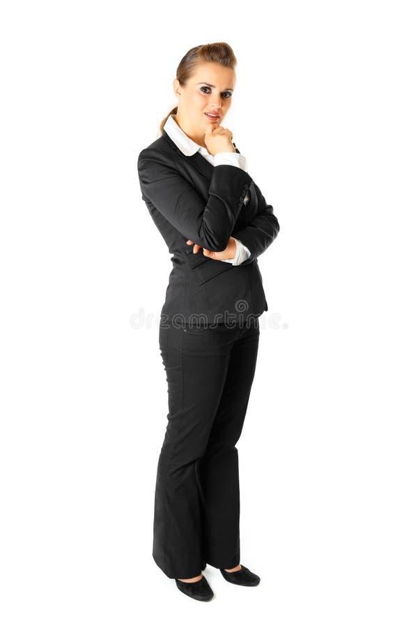 Mulher de negócio moderna pensativa isolada no branco foto de stock royalty free