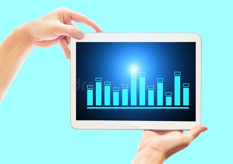 A mulher de negócio mostra uma tabuleta com um gráfico das vendas Conceito financeiro e do banco da tecnologia foto de stock