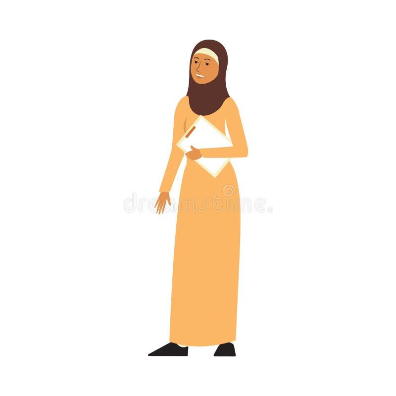 A mulher de negócio muçulmana ou árabe com ilustração lisa do vetor dos documentos isolou-se ilustração royalty free