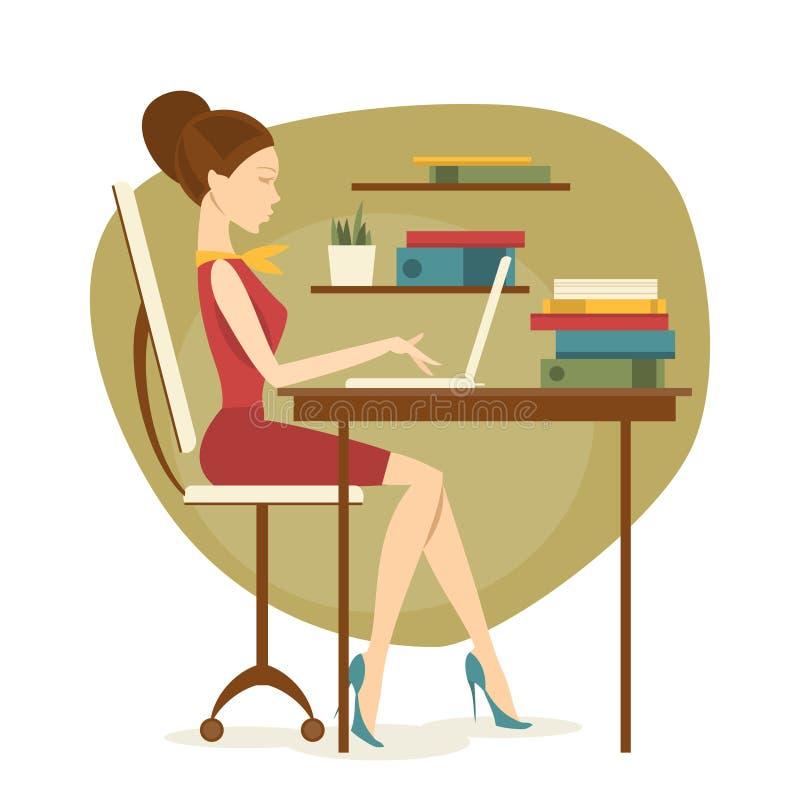 Mulher de negócio no escritório Ilustração do vetor ilustração do vetor