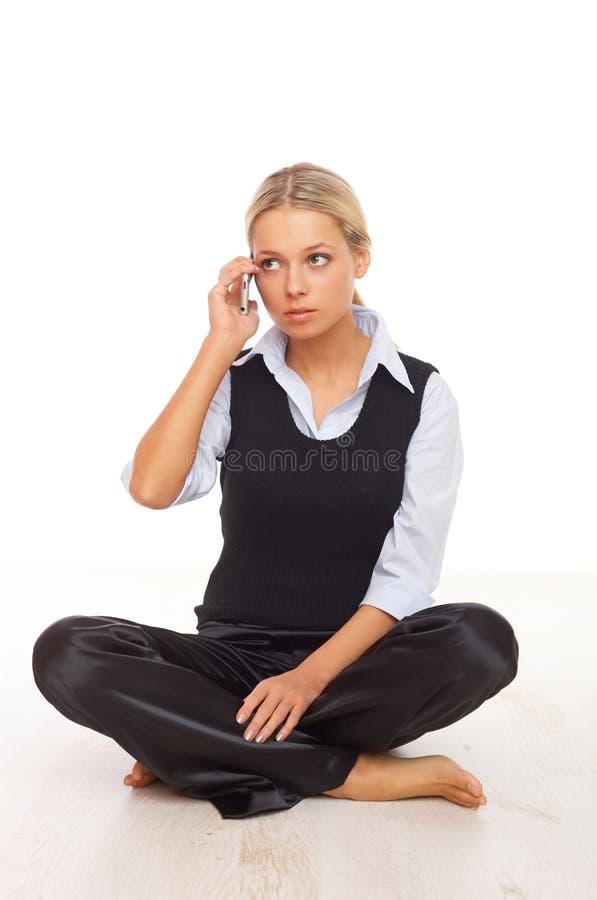 Mulher de negócio no telefone imagens de stock