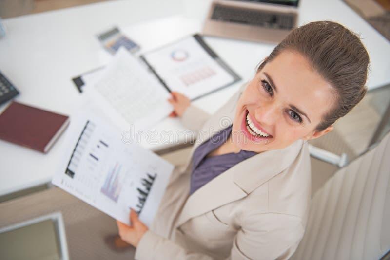 Mulher de negócio no trabalho fotografia de stock royalty free